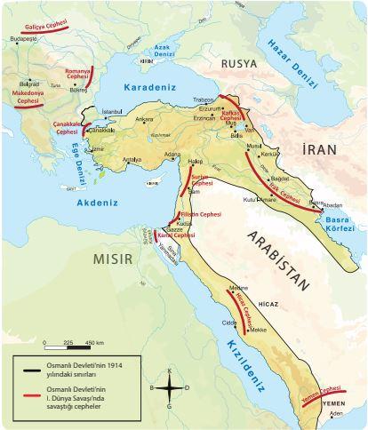 1. Dünya Savaşında Osmanlı Devleti ve Savaştığı Cepheler 2