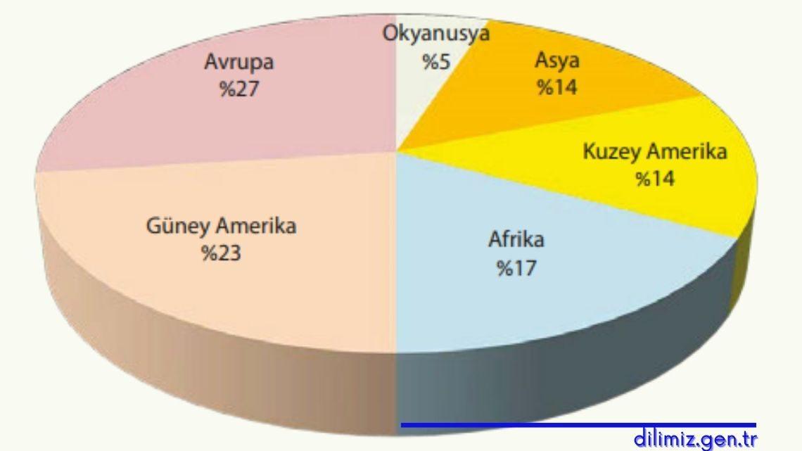 Ormanların kıtalara göre dağılımı