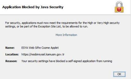 E-imza Kilit Çözme Java Blocked Hatası Çözümü
